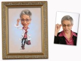 Helen Brody, Network-Marketing, Karikatur von Foto