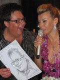 Cartoonist at the party with Lada Dance and Dmitry Pisarev