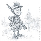 Cartoon photo with Victory Day. Red Army soldier in uniform
