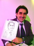 Cartoonist at the party caricaturists at the exhibition