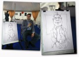 Caricaturist. Caricature top manager at the festival