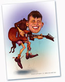 cartoon guitarist, a caricature artist to draw a picture